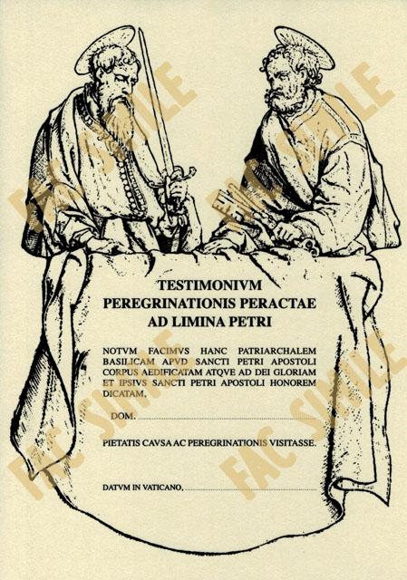 Testimonium peregrinationis via Francigena Roma San Pietro